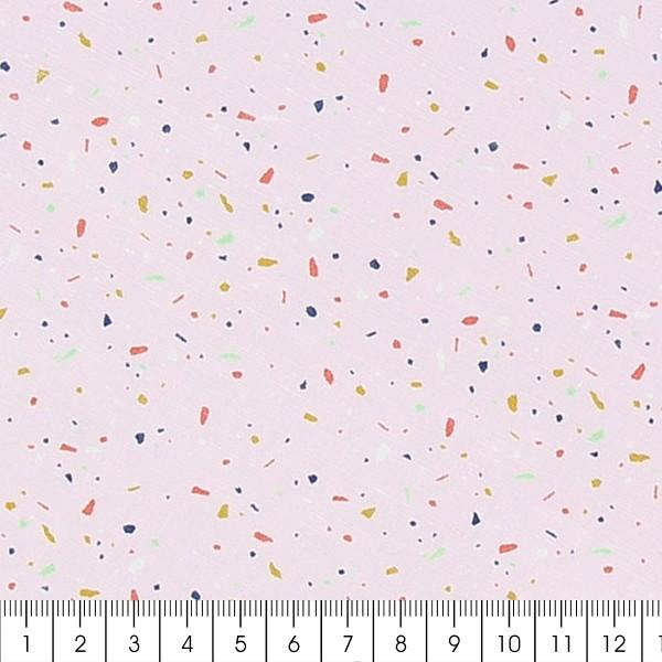 Tissu Frou-Frou Echappées belles - Memphis Terrazzo - Rose ballerine - Par 10 cm (sur mesure) - Photo n°2
