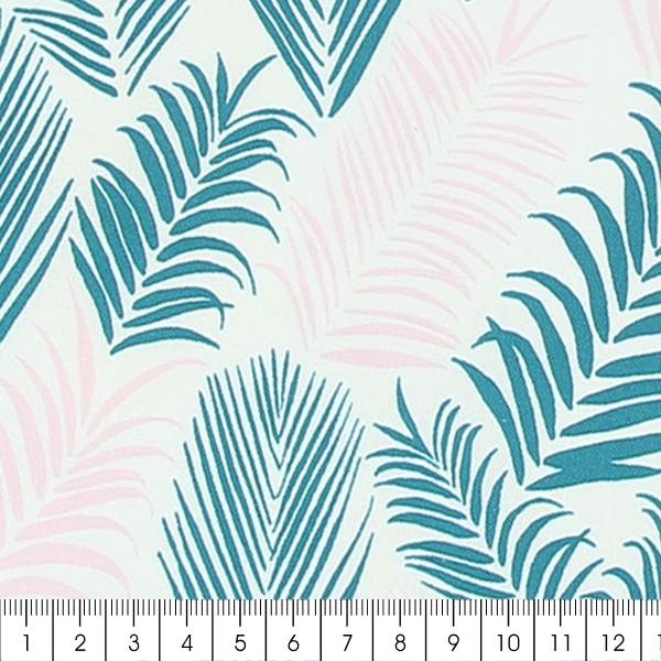 Tissu Frou-Frou Echappées belles - Rio Feuilles - Rose et vert - Par 10 cm (sur mesure) - Photo n°2