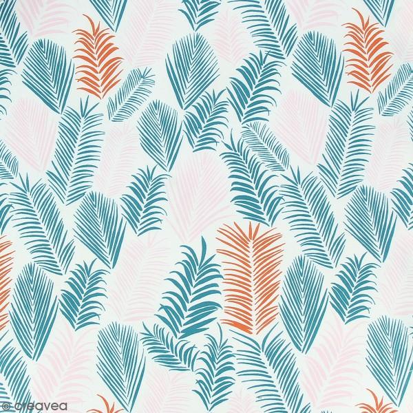 Tissu Frou-Frou Echappées belles - Rio Feuilles - Rose et vert - Par 10 cm (sur mesure) - Photo n°1