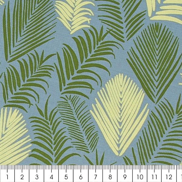 Tissu Frou-Frou Echappées belles - Rio Feuilles - Vert et jaune - Par 10 cm (sur mesure) - Photo n°2