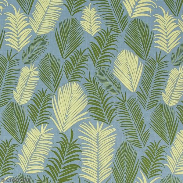 Tissu Frou-Frou Echappées belles - Rio Feuilles - Vert et jaune - Par 10 cm (sur mesure) - Photo n°1
