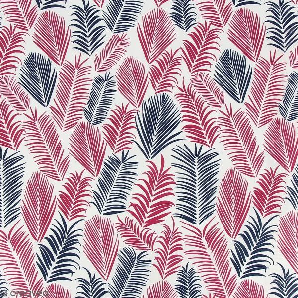 Tissu Frou-Frou Echappées belles - Rio Feuilles - Bordeaux et noir - Par 10 cm (sur mesure) - Photo n°1