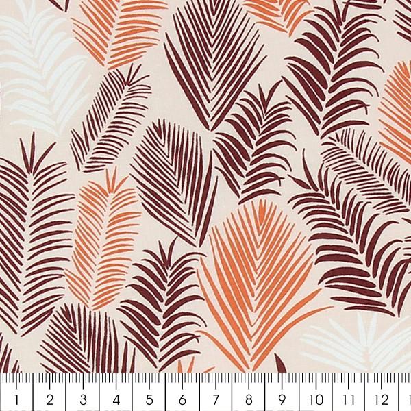 Tissu Frou-Frou Echappées belles - Rio Feuilles - Bordeaux et corail - Par 10 cm (sur mesure) - Photo n°2