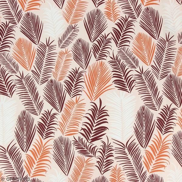 Tissu Frou-Frou Echappées belles - Rio Feuilles - Bordeaux et corail - Par 10 cm (sur mesure) - Photo n°1