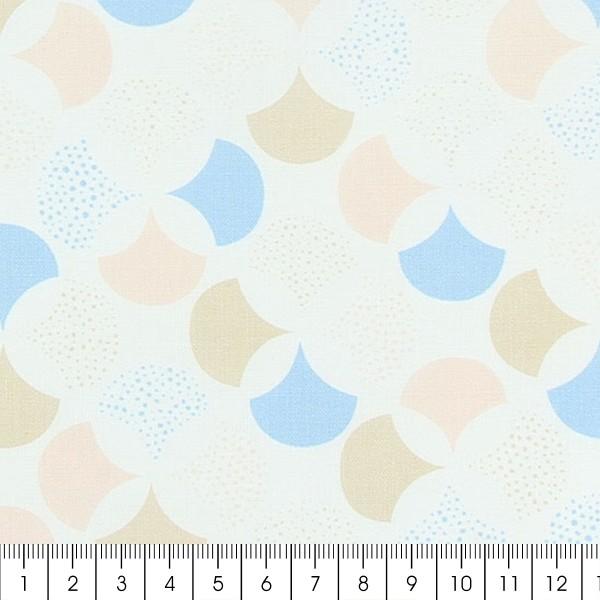 Tissu Frou-Frou Echappées belles - Lisbonne Rosace - Bleu clair et rose - Par 10 cm (sur mesure) - Photo n°2