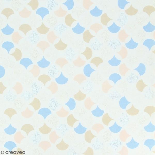 Tissu Frou-Frou Echappées belles - Lisbonne Rosace - Bleu clair et rose - Par 10 cm (sur mesure) - Photo n°1