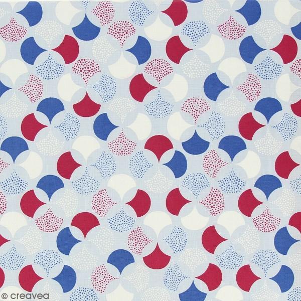 Tissu Frou-Frou Echappées belles - Lisbonne Rosace - Bordeaux et bleu - Par 10 cm (sur mesure) - Photo n°1