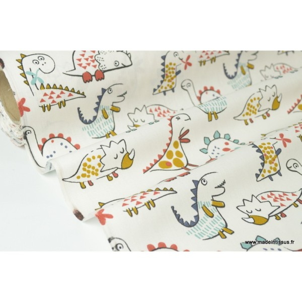 Tissu coton imprimé Dinosaures fond écru Oeko tex - Photo n°2
