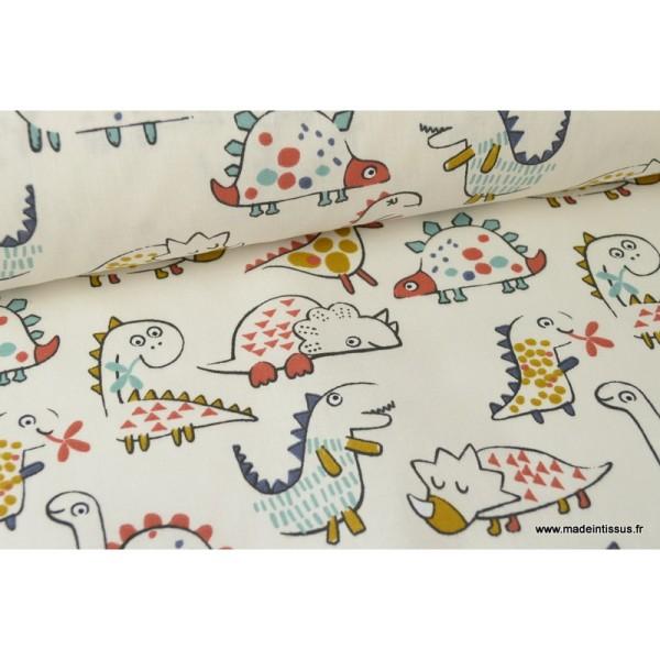 Tissu coton imprimé Dinosaures fond écru Oeko tex - Photo n°3