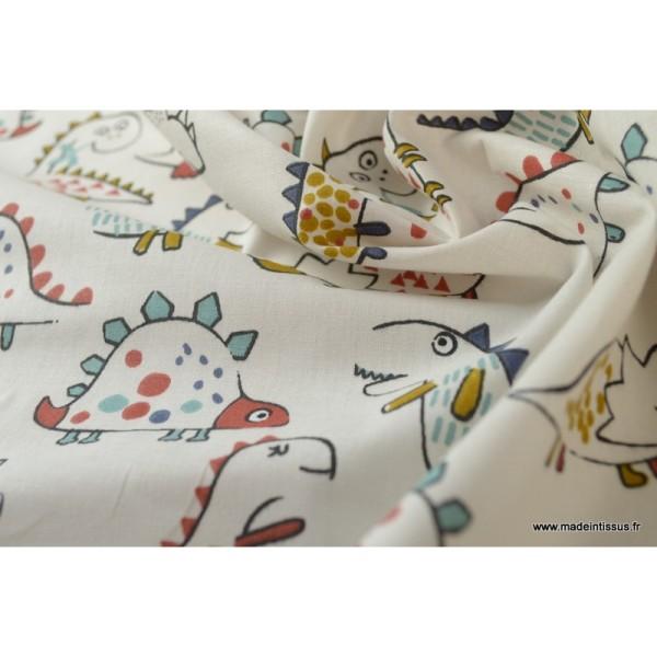 Tissu coton imprimé Dinosaures fond écru Oeko tex - Photo n°4