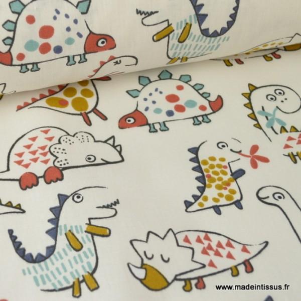 Tissu coton imprimé Dinosaures fond écru Oeko tex - Photo n°1