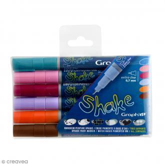 Graph'it shake 0,7 mm - Couleurs additionnelles - 6 marqueurs peinture