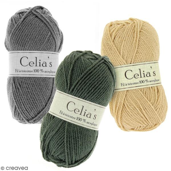Pelote de laine Celia's - 50 g - 100 % acrylique - Différents coloris - Photo n°1