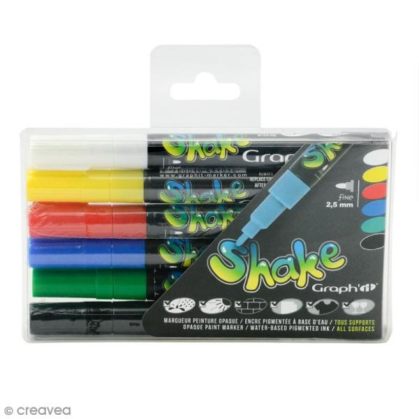 Graph'it shake 2,5 mm - Couleurs basiques - 6 marqueurs peinture - Photo n°1