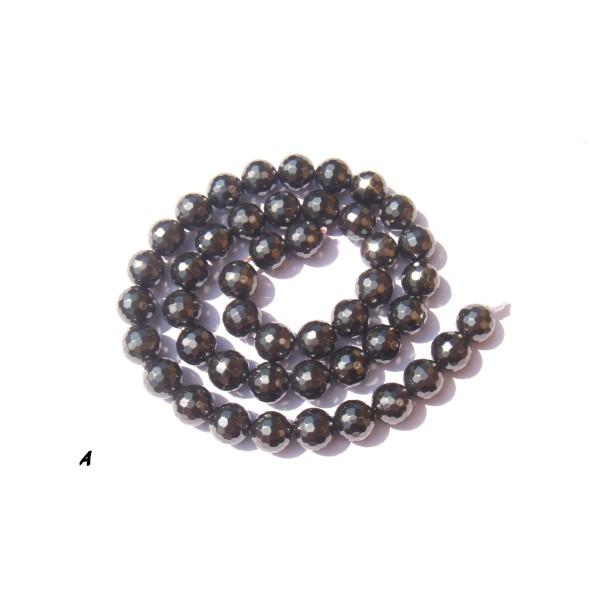 Hématite facettée : 5 perles 8 MM de diamètre - Photo n°1