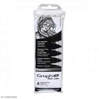 Pochette de 4 feutres pinceaux gris/noir - Graph'it Brush liner