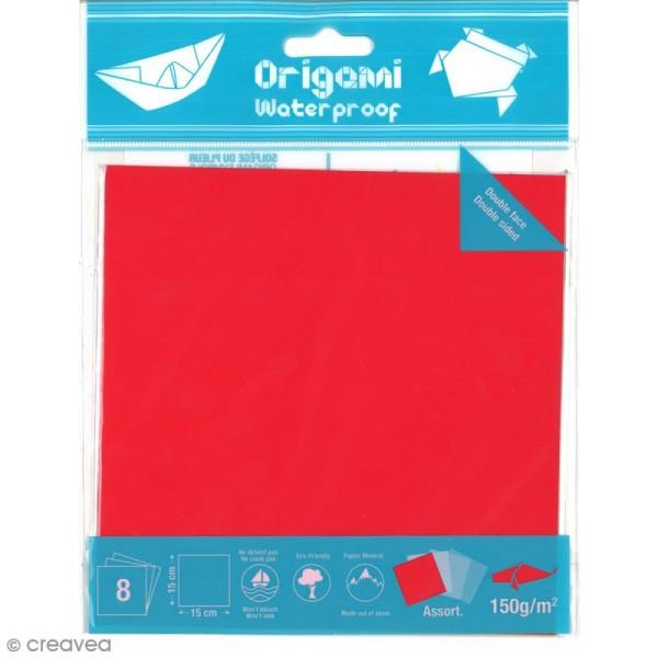 Papier origami waterproof - Assortiment Uni - 8 feuilles 15 x 15 cm - Photo n°1