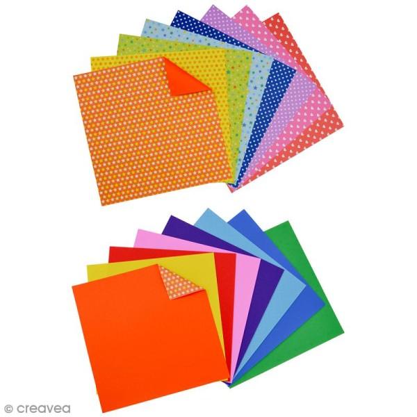 Papier origami waterproof - Assortiment Petits coeurs Pois et étoiles - 8 feuilles 15 x 15 cm - Photo n°2
