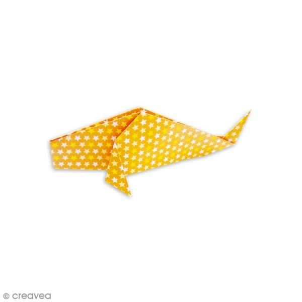 Papier origami waterproof - Assortiment Petits coeurs Pois et étoiles - 8 feuilles 15 x 15 cm - Photo n°4