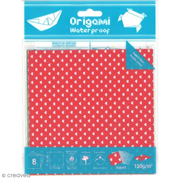 Papier origami waterproof - Assortiment Petits coeurs Pois et étoiles - 8 feuilles 15 x 15 cm - Photo n°1