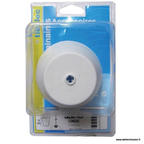 pavillon cache fils plastique blanc conique kit lectrique lampe creavea. Black Bedroom Furniture Sets. Home Design Ideas