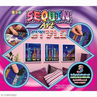 Kit Sequin art Style - Trio New York - 3 tableaux à décorer