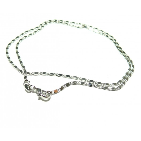 50 collier boucles en argent couleurs platinés