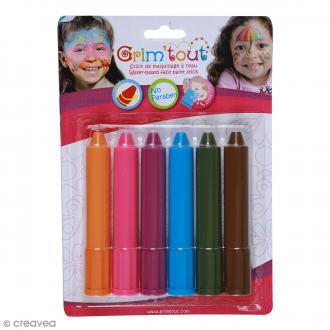 Maquillage stick Grim'tout - Lavables - Orange, rose, violet, bleu, kaki et marron - 6 pcs