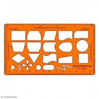 Règle organigraphe StandardGraph - 13,5 x 7,5 cm