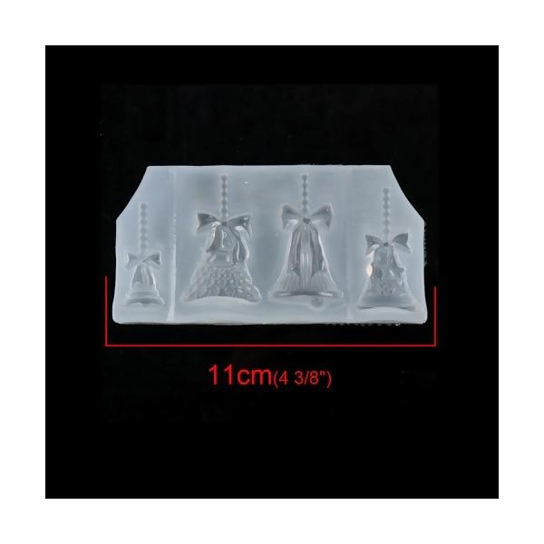 S119420 PAX 1 Moule en Silicone Pendentif 4 cloches Noel Paques pour Creation Fimo Cernit Resine - Photo n°2