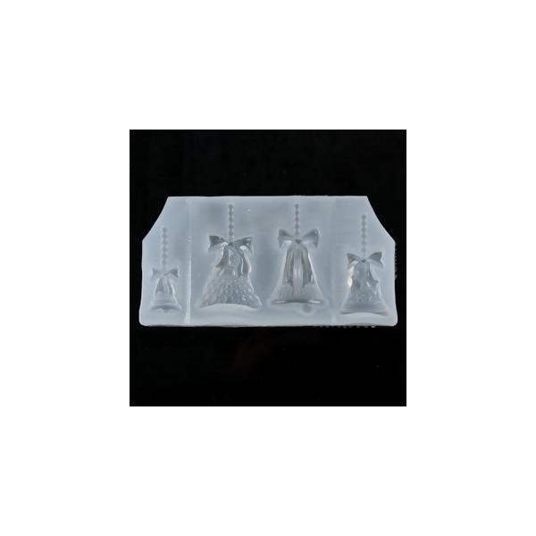 S119420 PAX 1 Moule en Silicone Pendentif 4 cloches Noel Paques pour Creation Fimo Cernit Resine - Photo n°1