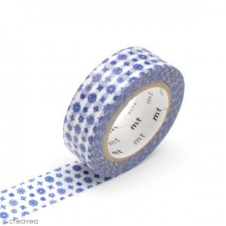 Masking tape fleurs - Petites fleurs bleues - 15 mm x 10 m