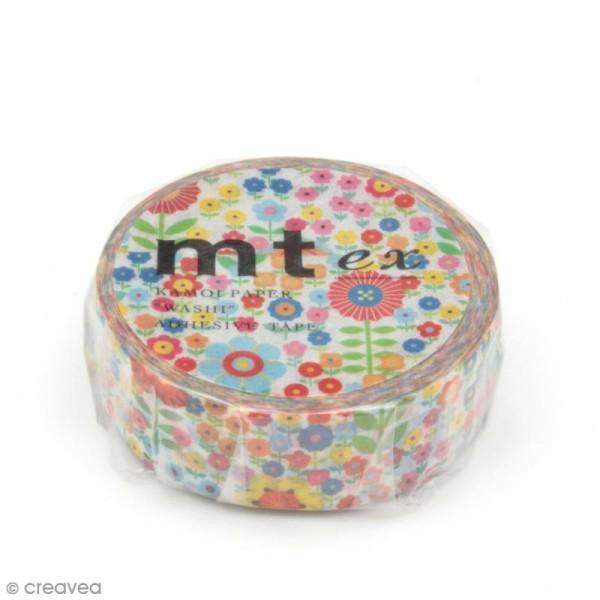 Masking tape fleurs - Petites fleurs multicolores - 15 mm x 10 m - Photo n°2