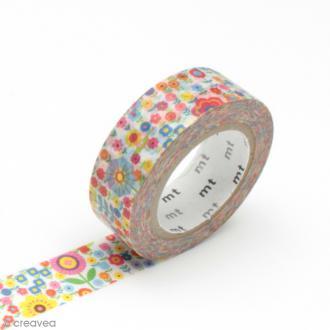 Masking tape fleurs - Petites fleurs multicolores - 15 mm x 10 m