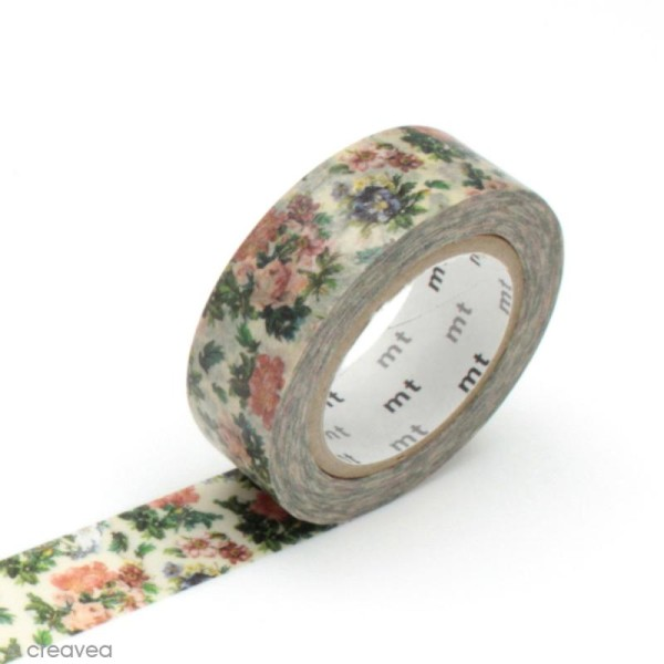 Masking tape fleurs - Fleurs vintages - 15 mm x 10 m - Photo n°1
