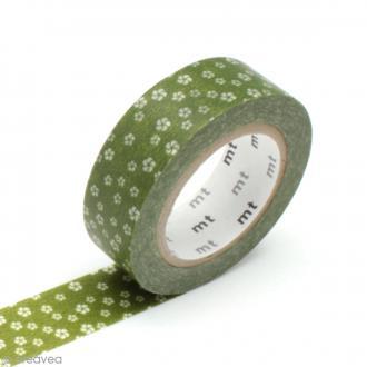Masking tape fleurs - Fleurs vert ocre - 15 mm x 10 m