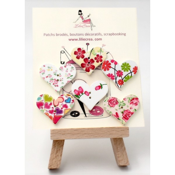 50 en Bois Coeur Boutons-Rose-Baby Shower-Craft-SCRAPBOOK-Cartes