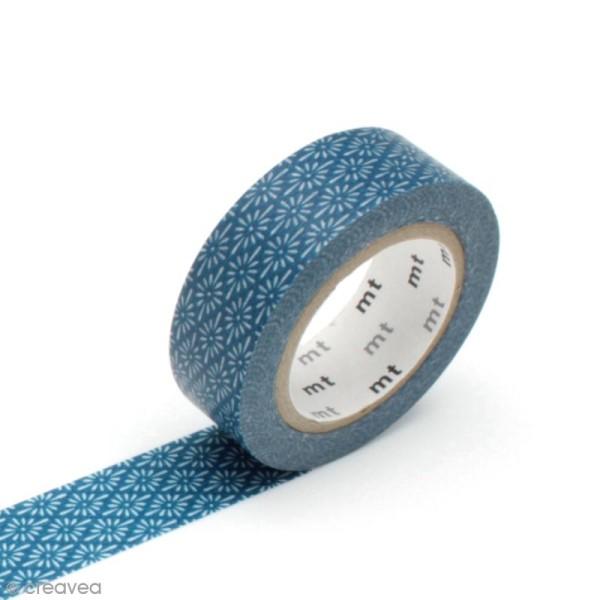 Masking tape fleurs - Fleurs bleues - 15 mm x 10 m - Photo n°1