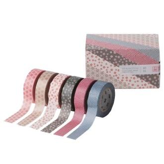 Masking tape fleurs - Assortiment wamon n°3 - 6 rouleaux