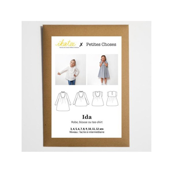 Pochette patron Robe, blouse ou t-shirt IDA pour fille by Ikatee - Photo n°2