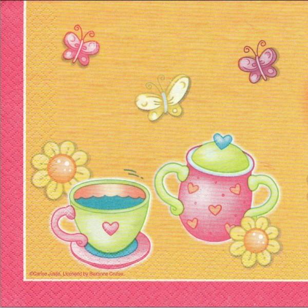 4 Serviettes en papier Thé Théière Cuisine Format Lunch Decoupage Decopatch 665482 Converting - Photo n°2