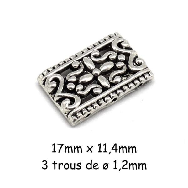 10 Perles Intercalaire En Métal Argenté Style Ethnique 3 Trous - Photo n°1