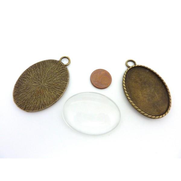 Grand Pendentif Pour Cabochon De 40x30mm En Métal De Couleur Bronze + Cabochon Verre De 30mm X 40mm - Photo n°2