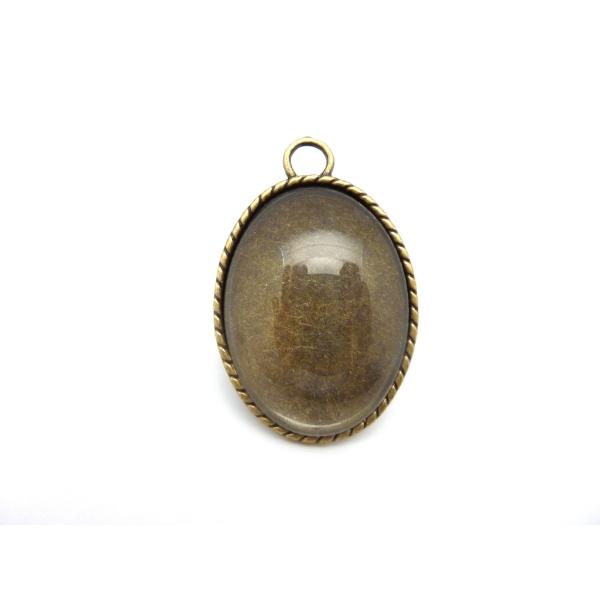 Grand Pendentif Pour Cabochon De 40x30mm En Métal De Couleur Bronze + Cabochon Verre De 30mm X 40mm - Photo n°3