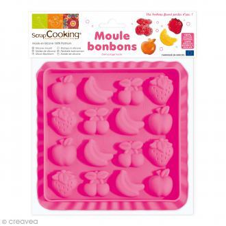 Moule silicone 3D Bonbons fruits - 16 éléments