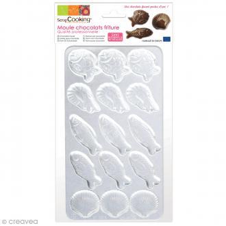 Moule rigide pour chocolats - Poissons et crustacés - 15 éléments
