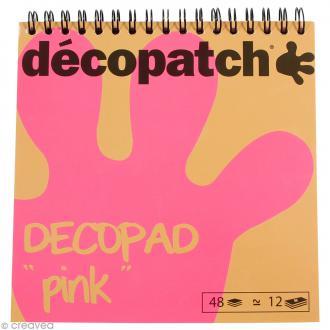 Bloc Decopad Décopatch Rose - 15 x 15 cm - 48 feuilles