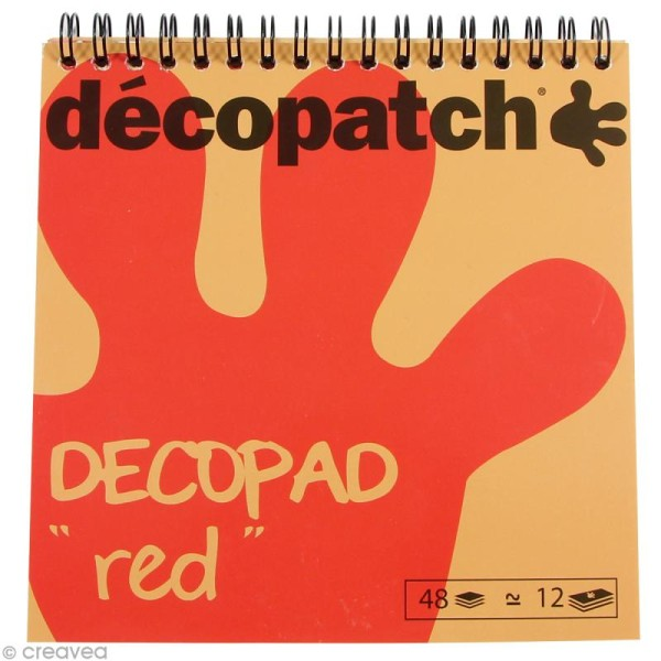Bloc Decopad Décopatch Rouge - 15 x 15 cm - 48 feuilles - Photo n°1