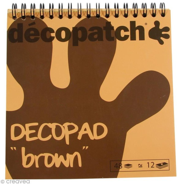 Bloc Decopad Décopatch Marron brun - 15 x 15 cm - 48 feuilles - Photo n°1