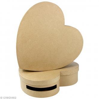 Lot de 2 urnes coeur 9 x 36 et 10 x 36 cm à décorer